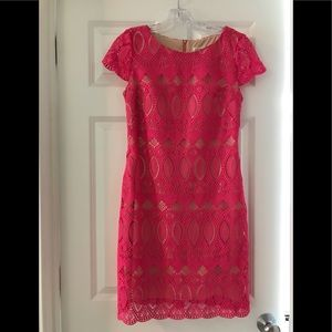 Eliza J Pink Lace Shift Dress